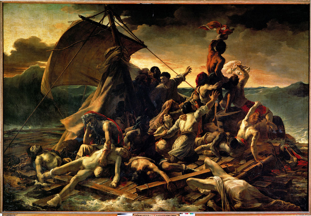 """The Raft of the """"Medusa"""". Painting after a then well-known catastrophe in which survivors of the ship Medusa drifted across the sea for 27 days. Oil on canvas (1819) 491 x 716 cm - RF 4884"""